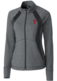 Philadelphia Phillies Womens Cutter and Buck Shoreline Colorblock Medium Weight Jacket - Charcoal