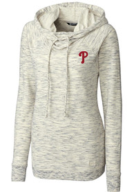 Philadelphia Phillies Womens Cutter and Buck Tie Breaker Hooded Sweatshirt - Oatmeal