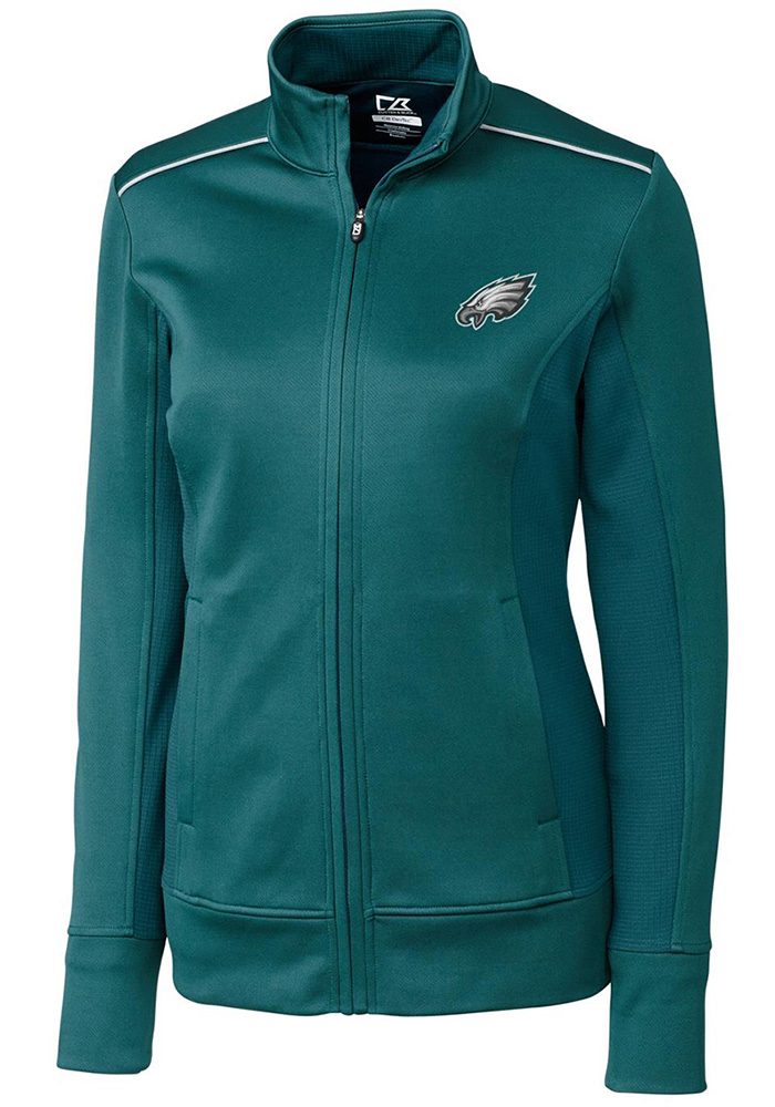 Cutter and Buck Philadelphia Eagles Womens Midnight Green Ridge Long Sleeve Full Zip Jacket - Image 1
