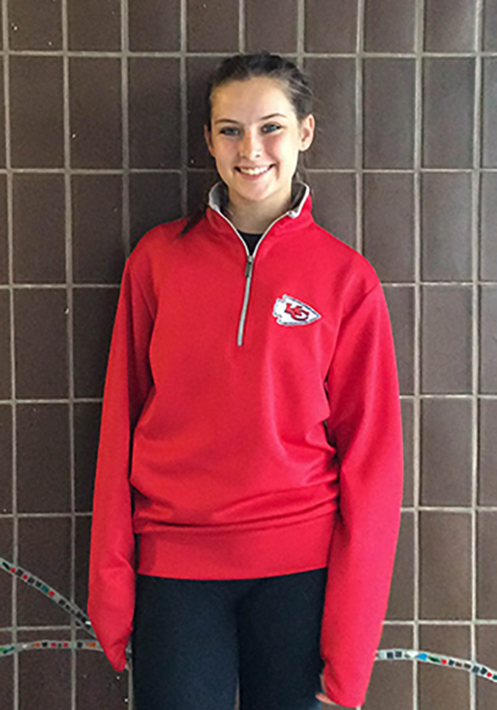 Cutter and Buck KC Chiefs Womens Red Jackson 1/4 Zip Pullover - Image 2
