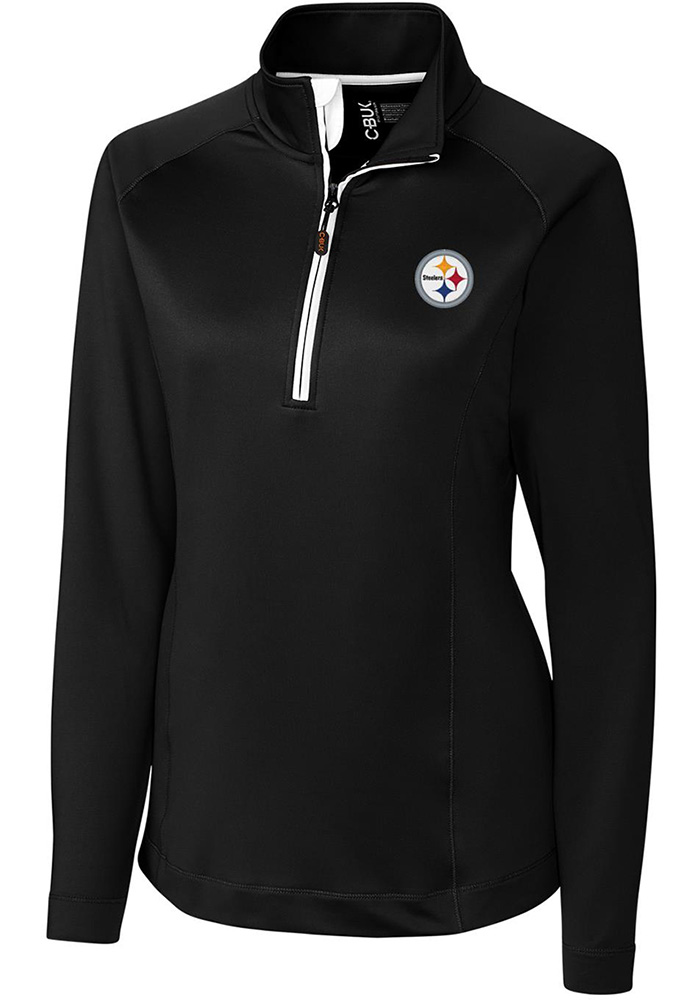 Cutter and Buck Pitt Steelers Womens Black Jackson 1/4 Zip Pullover, Black, 100% POLYESTER, Size XL