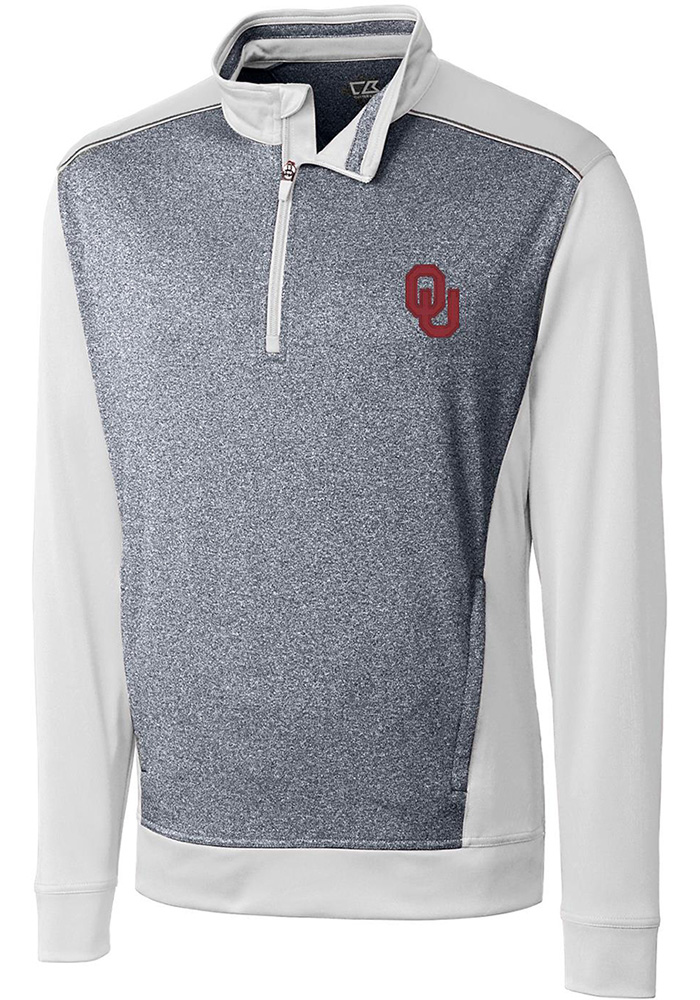 Cutter and Buck Oklahoma Sooners Mens White Replay Long Sleeve 1/4 Zip Pullover - Image 1