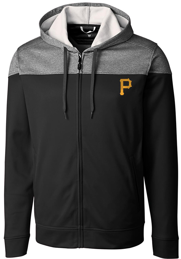 Cutter and Buck Pittsburgh Pirates Mens Black Pop Fly Long Sleeve Zip - Image 1