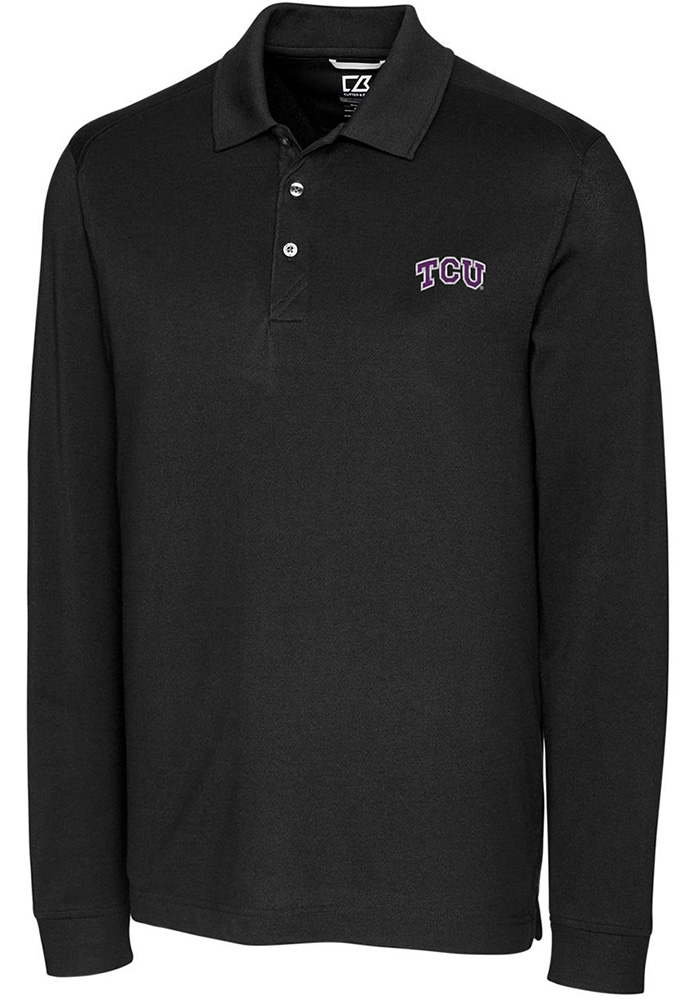 Cutter and Buck TCU Horned Frogs Mens Black Advantage Long Sleeve Polo Shirt - Image 1