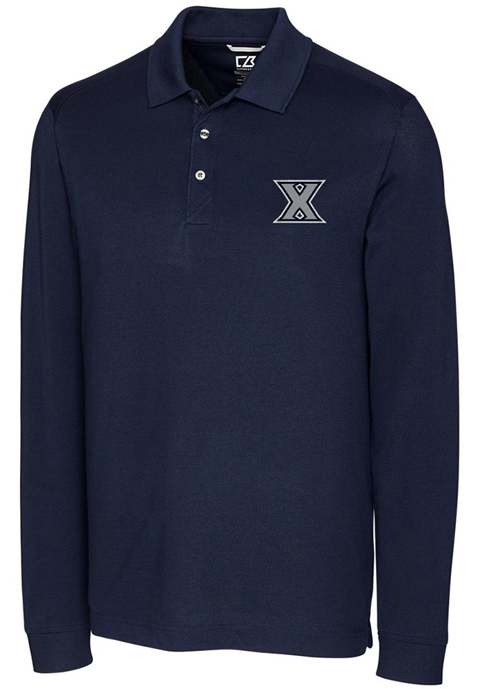 Cutter and Buck Xavier Musketeers Mens Navy Blue Advantage Long Sleeve Polo Shirt - Image 1