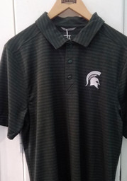 Cutter and Buck Michigan State Spartans Mens Green Cascade Short Sleeve Polo