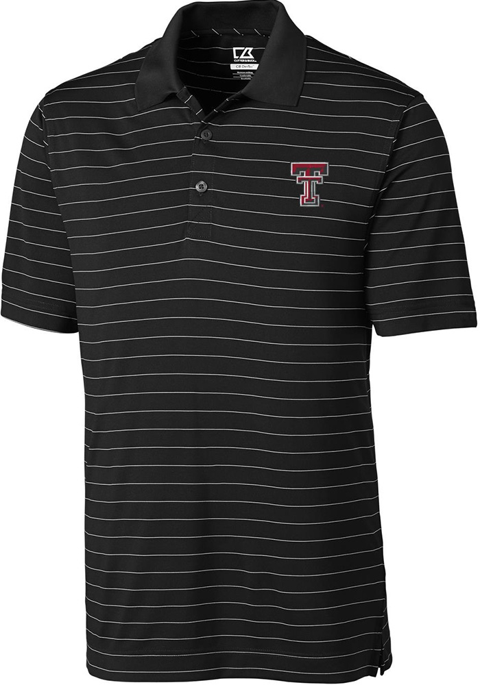 Cutter and Buck Texas Tech Red Raiders Mens Black Franklin Short Sleeve Polo - Image 1