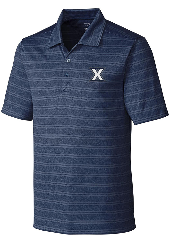 Cutter and Buck Xavier Musketeers Mens Navy Blue Interbay Short Sleeve Polo - Image 1
