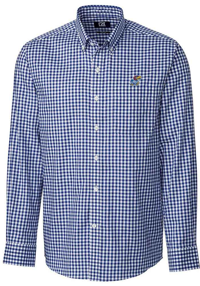 Cutter and Buck Kansas Jayhawks Mens Blue League Long Sleeve Dress Shirt - Image 1