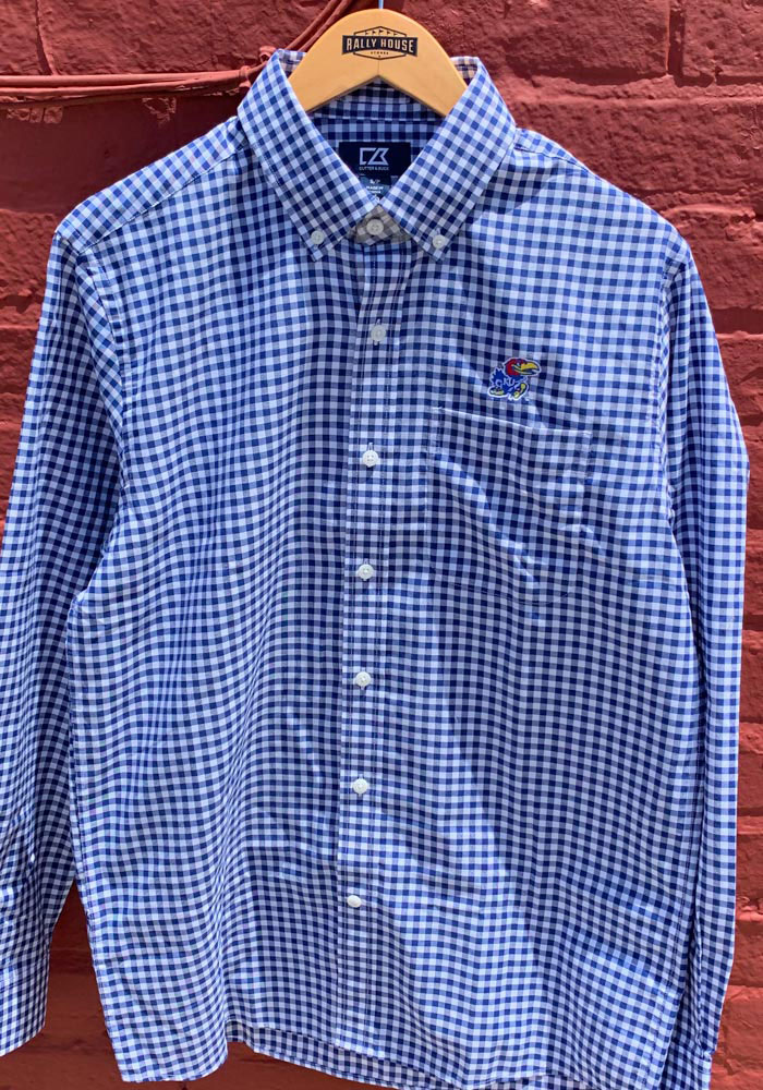 Cutter and Buck Kansas Jayhawks Mens Blue League Long Sleeve Dress Shirt - Image 2
