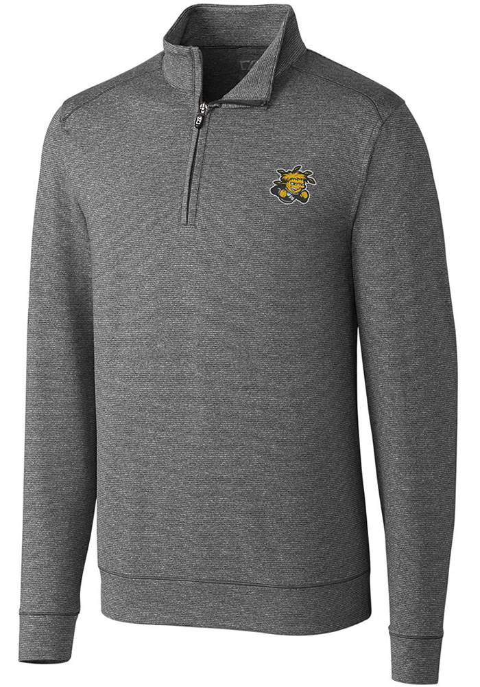 Cutter and Buck Wichita State Shockers Mens Grey Shoreline Long Sleeve 1/4 Zip Pullover - Image 1
