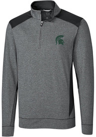 Michigan State Spartans Cutter and Buck Shoreline Colorblock 1/4 Zip Pullover - Charcoal