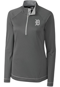 Detroit Tigers Womens Cutter and Buck Evolve 1/4 Zip - Grey