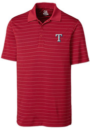 Texas Rangers Cutter and Buck Franklin Stripe Polo Shirt - Red