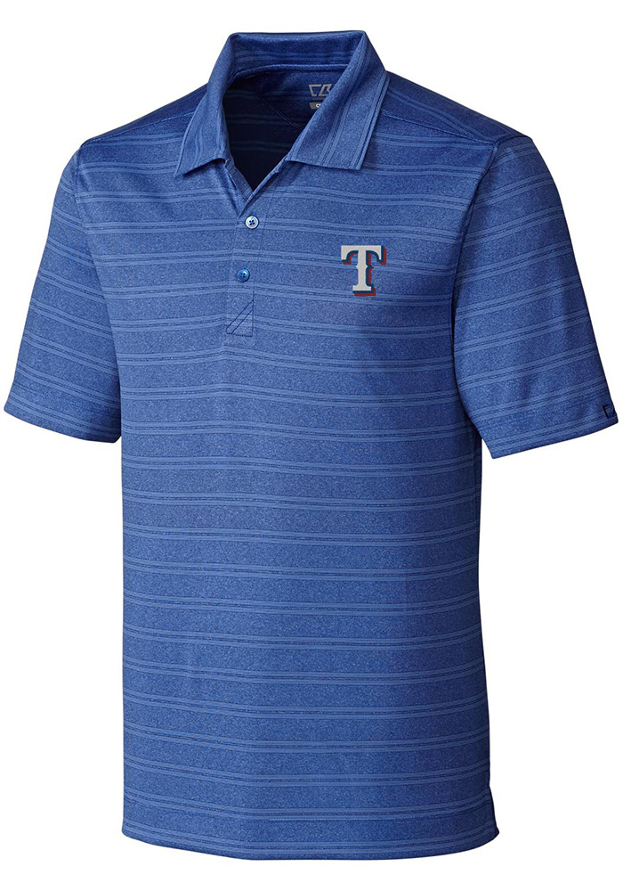 Cutter and Buck Texas Rangers Mens Blue Interbay Short Sleeve Polo - Image 1