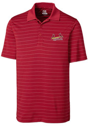 St Louis Cardinals Cutter and Buck Franklin Stripe Polo Shirt - Red
