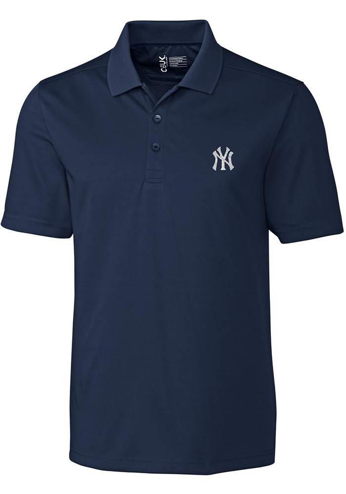 Cutter and Buck New York Yankees Mens Navy Blue Fairwood Short Sleeve Polo - Image 1