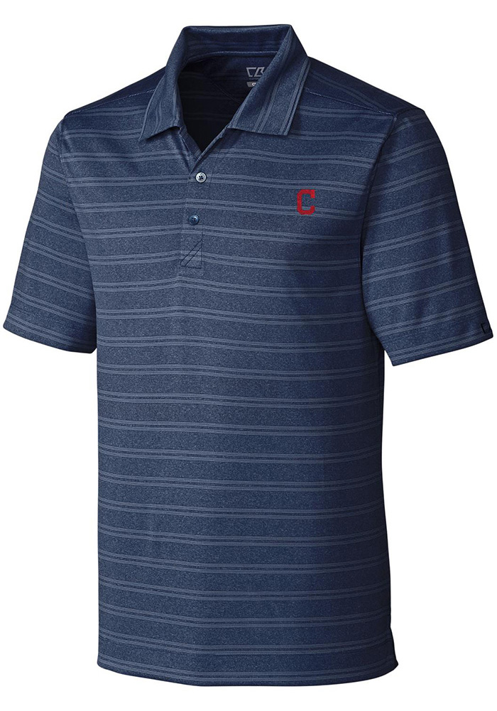 Cutter and Buck Cleveland Indians Mens Navy Blue Interbay Short Sleeve Polo - Image 1