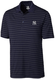 New York Yankees Cutter and Buck Franklin Stripe Polo Shirt - Navy Blue