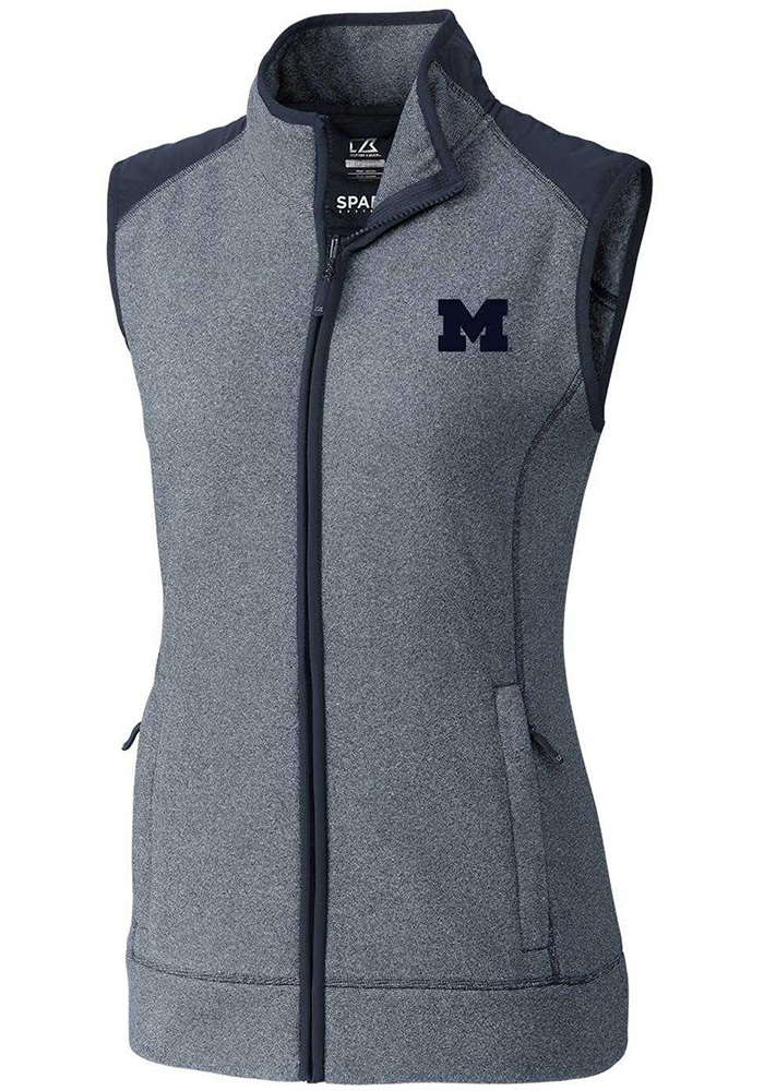 Cutter and Buck Michigan Wolverines Womens Navy Blue Cedar Park Vest - Image 1