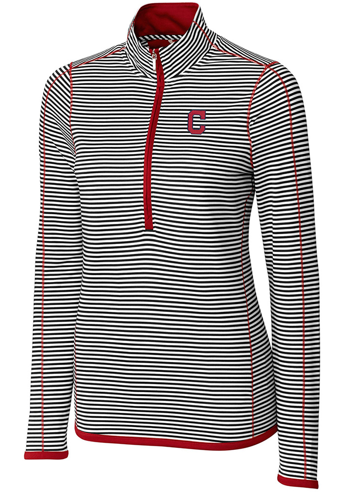 Cutter and Buck Cleveland Indians Womens Red Trevor Stripe 1/4 Zip Pullover - Image 1