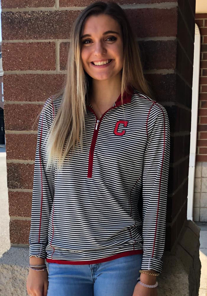 Cutter and Buck Cleveland Indians Womens Red Trevor Stripe 1/4 Zip Pullover - Image 2