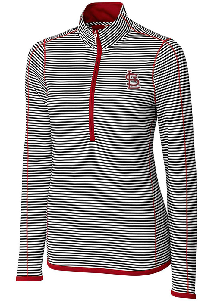 Cutter and Buck STL Cardinals Womens Red Trevor Stripe 1/4 Zip Pullover - Image 1