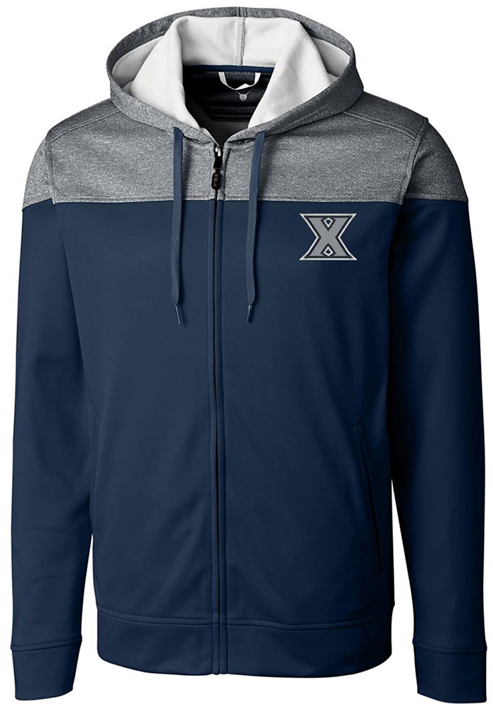 Cutter and Buck Xavier Musketeers Mens Navy Blue Pop Fly Long Sleeve Zip - Image 1