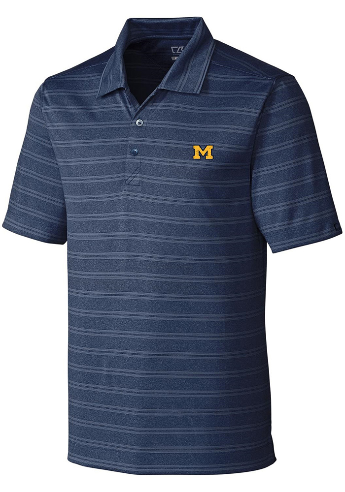 Cutter and Buck Michigan Wolverines Mens Navy Blue Interbay Short Sleeve Polo - Image 1