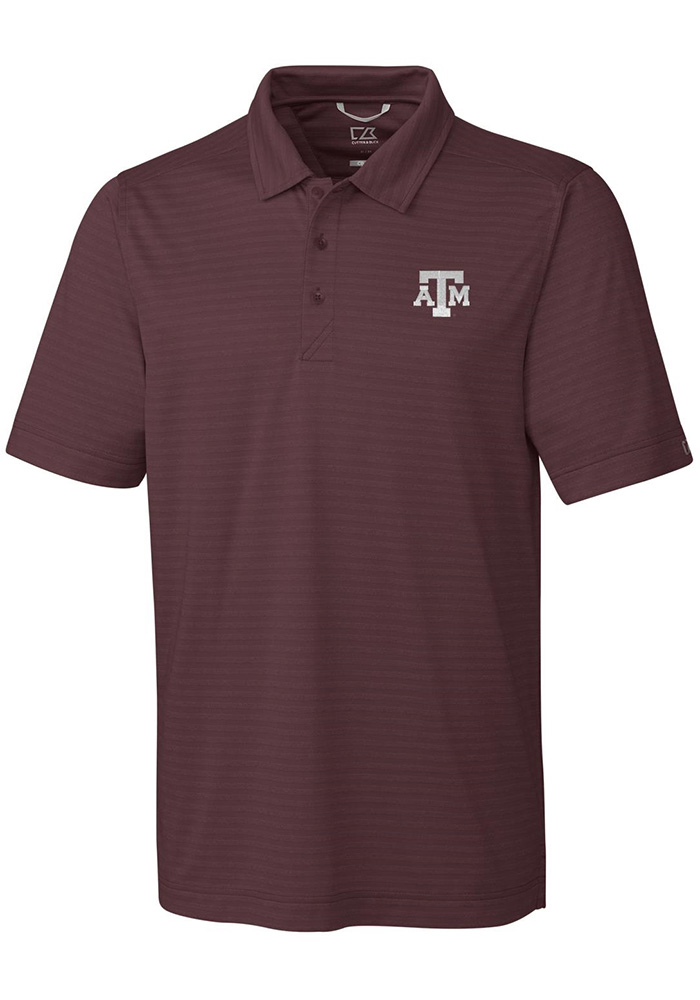 Cutter and Buck Texas A&M Aggies Mens Maroon Cascade Short Sleeve Polo - Image 1