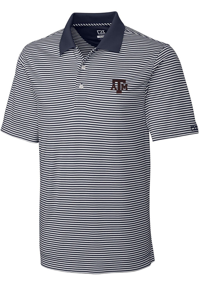 Cutter and Buck Texas A&M Aggies Mens Grey Trevor Short Sleeve Polo - Image 1