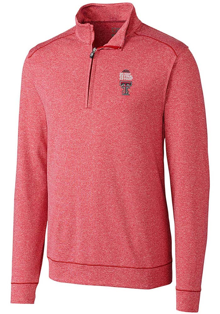 Cutter and Buck Texas Tech Red Raiders Mens Red Final Four 2019 Long Sleeve 1/4 Zip Pullover - Image 1