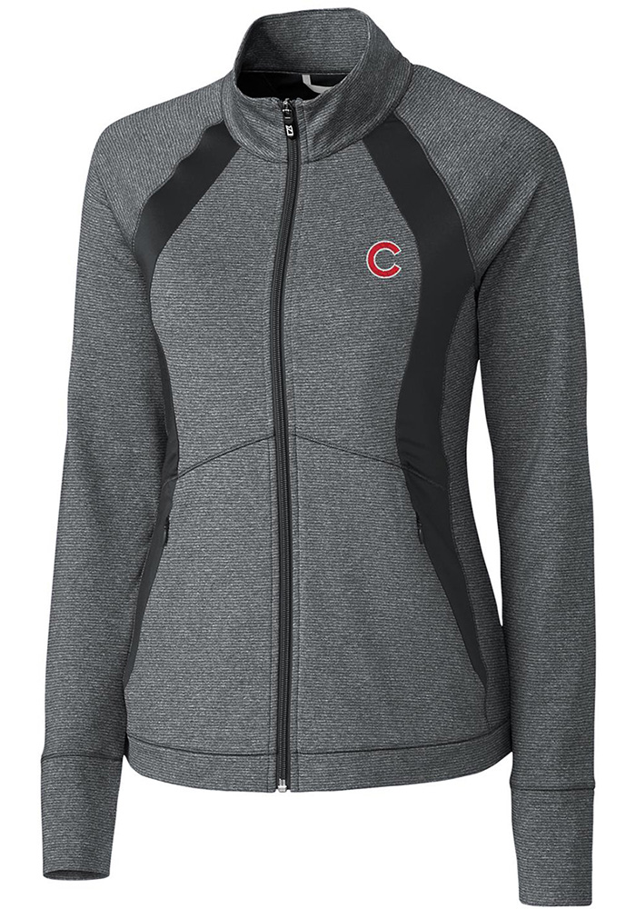 Cutter and Buck Chicago Cubs Womens Grey Shoreline Colorblock Light Weight Jacket - Image 1