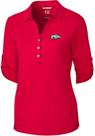 Arkansas Razorbacks Womens Cutter and Buck Thrive Dress Shirt - Red