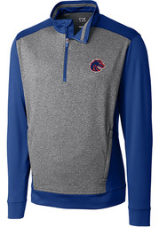 Cutter and Buck Boise State Broncos Mens Blue Replay Long Sleeve 1/4 Zip Pullover