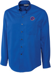 Cutter and Buck Boise State Broncos Mens Blue Epic Long Sleeve Dress Shirt