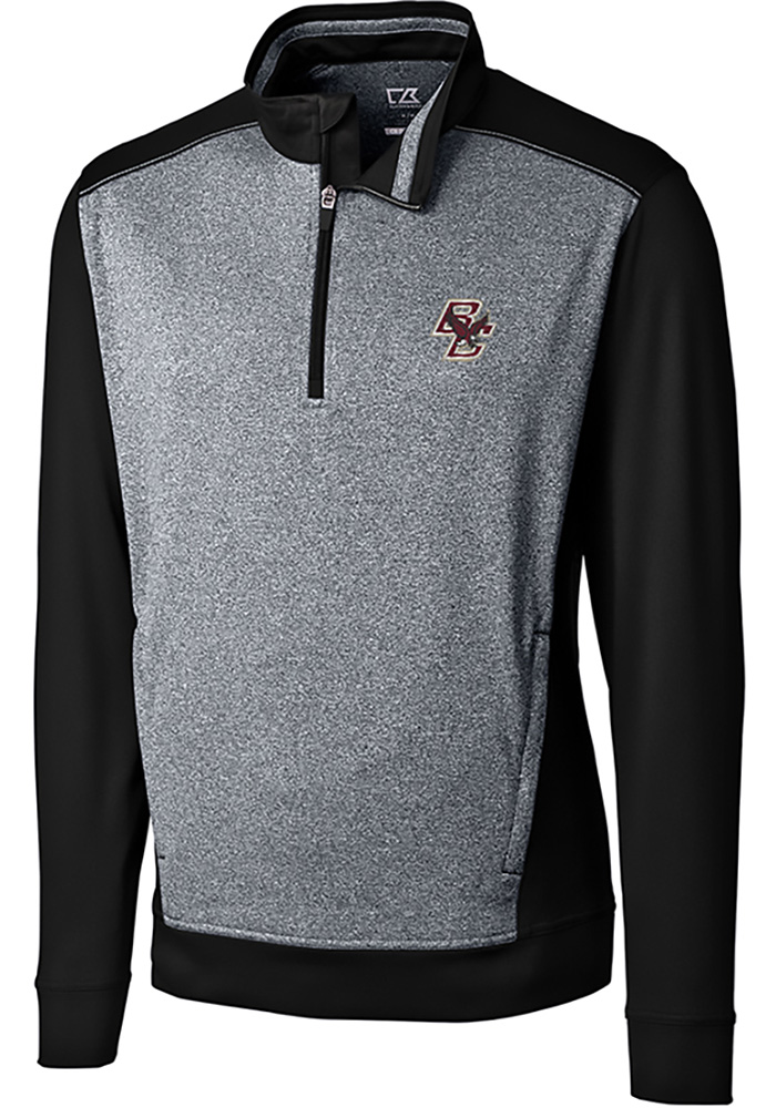 Boston College Eagles Cutter and Buck Replay 1/4 Zip Pullover - Black