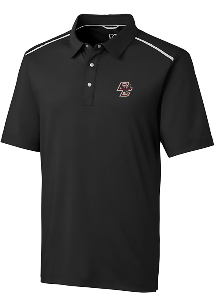 Cutter and Buck Boston College Eagles Mens Black Fusion Short Sleeve Polo - Image 1