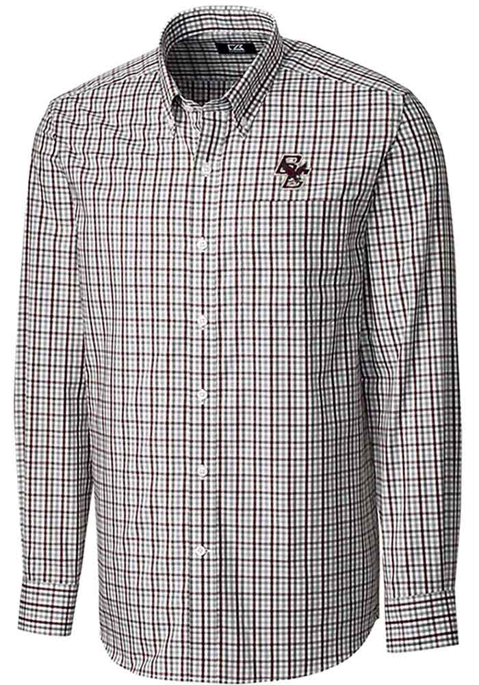 Cutter and Buck Boston College Eagles Mens Maroon Gilman Long Sleeve Dress Shirt - Image 1