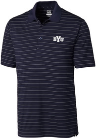 BYU Cougars Cutter and Buck Franklin Stripe Polo Shirt - Navy Blue