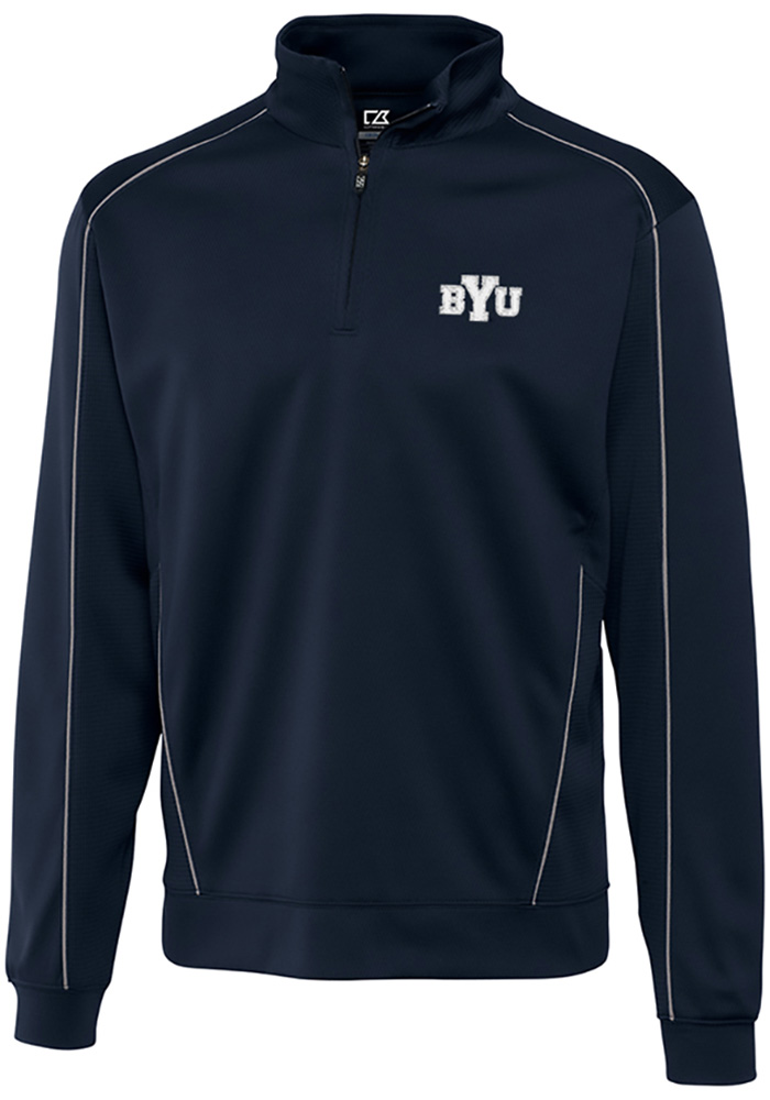 Cutter and Buck BYU Cougars Mens Navy Blue Edge Long Sleeve 1/4 Zip Pullover - Image 1