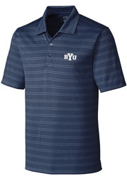 BYU Cougars Cutter and Buck Interbay Melange Polo Shirt - Navy Blue