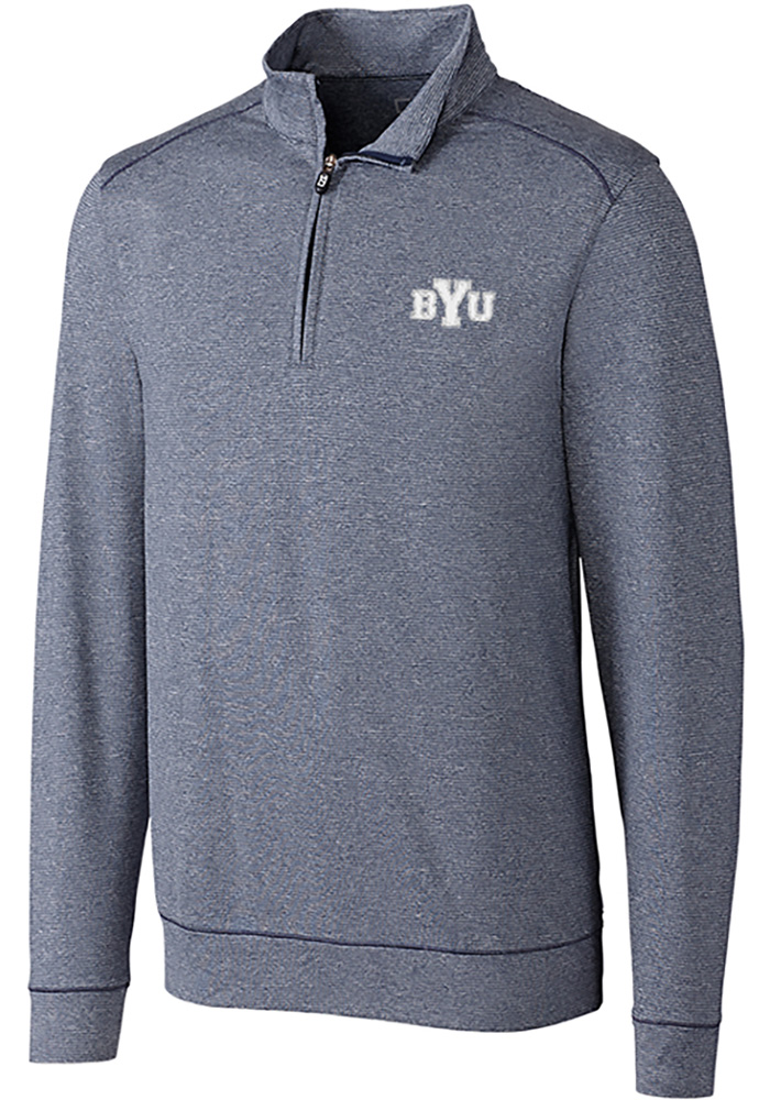 Cutter and Buck BYU Cougars Mens Navy Blue Shoreline Long Sleeve 1/4 Zip Pullover - Image 1