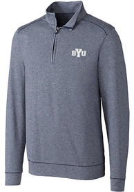 BYU Cougars Cutter and Buck Shoreline 1/4 Zip Pullover - Navy Blue