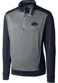 BYU Cougars Cutter and Buck Replay 1/4 Zip Pullover - Navy Blue