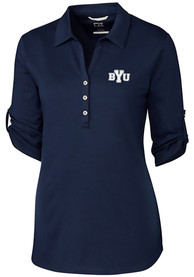 BYU Cougars Womens Cutter and Buck Thrive Dress Shirt - Navy Blue