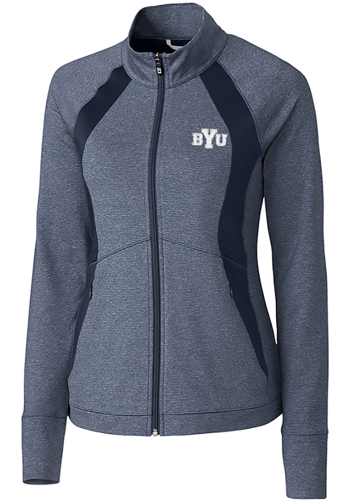 BYU Cougars Womens Cutter and Buck Shoreline 1/4 Zip Pullover - Navy Blue