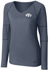 BYU Cougars Womens Cutter and Buck Victory T-Shirt - Navy Blue