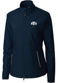 BYU Cougars Womens Cutter and Buck Beacon Light Weight Jacket - Navy Blue