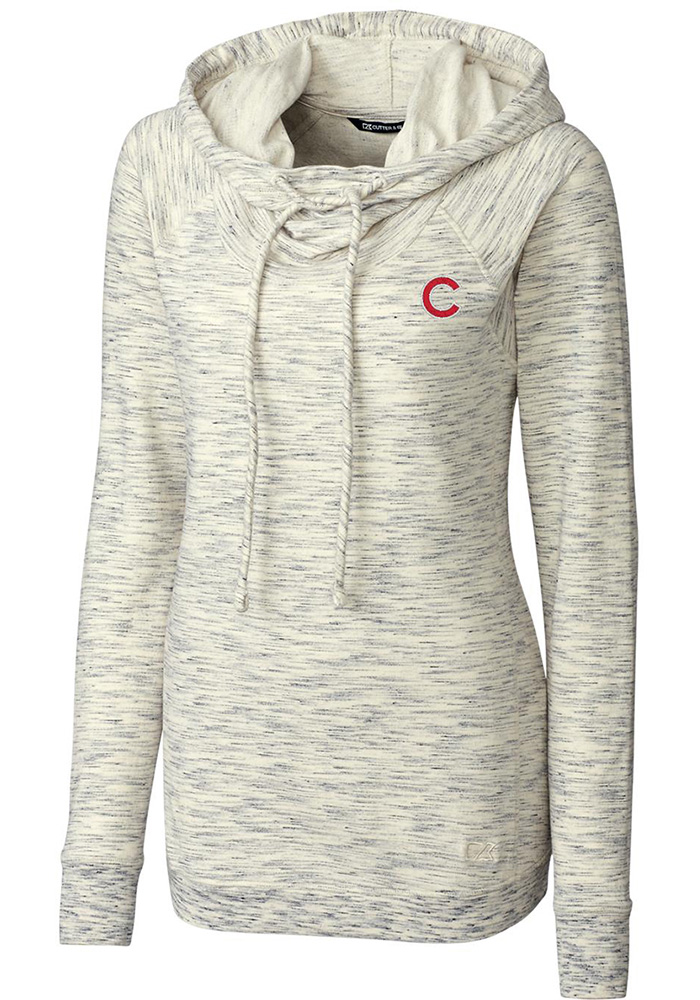 Cutter and Buck Chicago Cubs Womens Oatmeal Tie Breaker Hooded Sweatshirt - Image 1